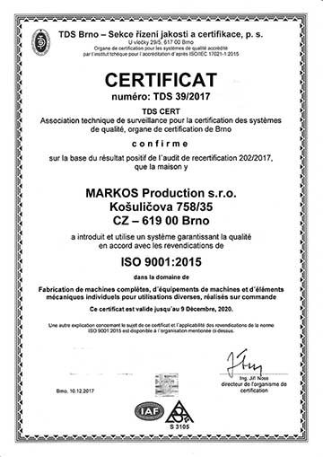 markos production - certificat