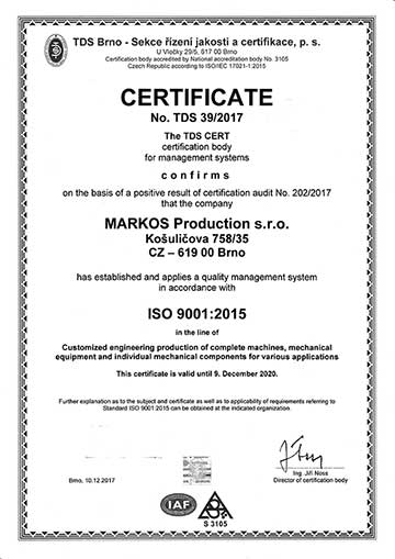 markos production - certificate