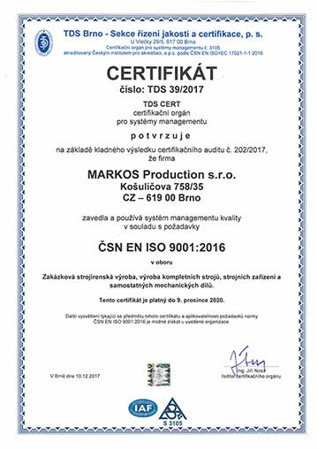 markos production - certifikát