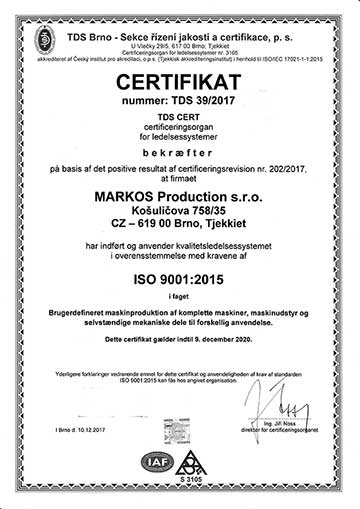 markos production - certifikat