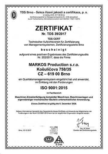 markos production - zertifikat